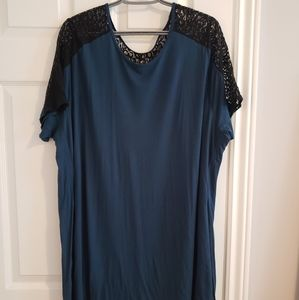 Teal and black lace tunic top, 4x plus sized